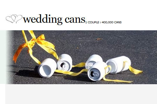 spokane, couple pays for wedding with 400000 cans, green wedding, recycled materials, recycled cans, couple marries thanks to 400,000 cans, recycling, eco wedding, peter geyer, andrea parrish, alcoa
