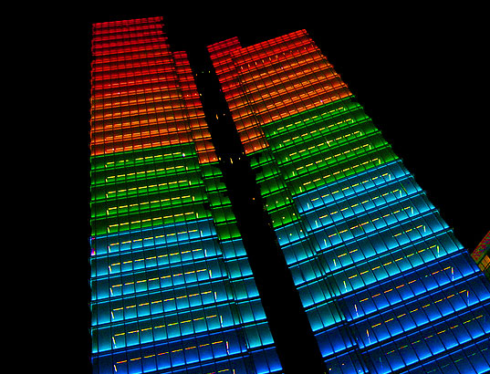 lab-au, lab au, weather forecast tower, leds, light emitting diodes, dexia towers, 72,000 leds, weather tower, brussels, green lighting, eco lighting, green design, eco design, sustainable design, sustainable lighting