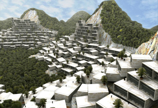 mvrdv, long tan park, Cascades of Box Homes Covering the Mountains, green architecture, erosion, limestone, eco architecture, sustainable architecture, liuzhou, china, pixelated village, vertical village, green design, eco design, sustainable design, long tan park