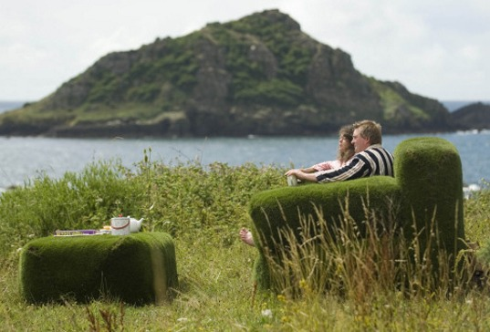 national trust sofa, national trust campaign, national trust couch, grass sofa, grass couch, grass tea table, grass coffee table, British environmental awareness,