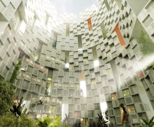 taipei city wall, taiwan, big, residential complex, green space, pixelated design