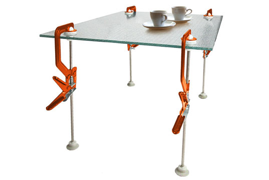 re-vive legs, re-vive clamps, green furniture, eco furniture, green products, green table, eco table, make flat surface a table