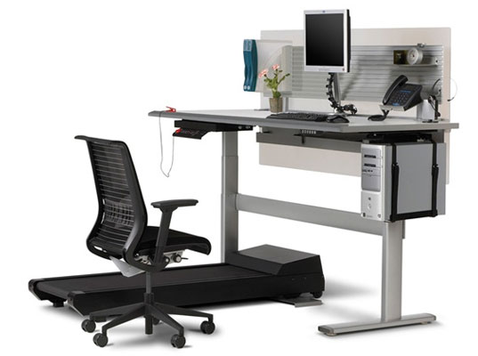 sit to walkstation, stand at desk, desk treadmill, healthy desk, design for health, steelcase, healthy work environment, exercise at work, exercise at your desk, health