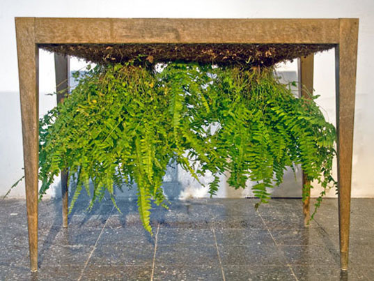 Ori Mishkal, dirt table, fern table, upside down planters, topsy turvy planters, green tables, plant tables