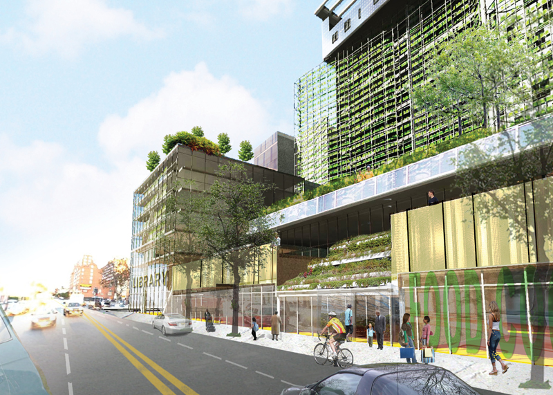Yard scraper, Roger marvel architects, Brooklyn, vertical building, vertical garden, green house, sustainable buildings, sustainable design, NYC, New York, Green Residences, solar power, solar panels, Institute for Urban Sustainability, the Brooklyn Library of Science and Environment