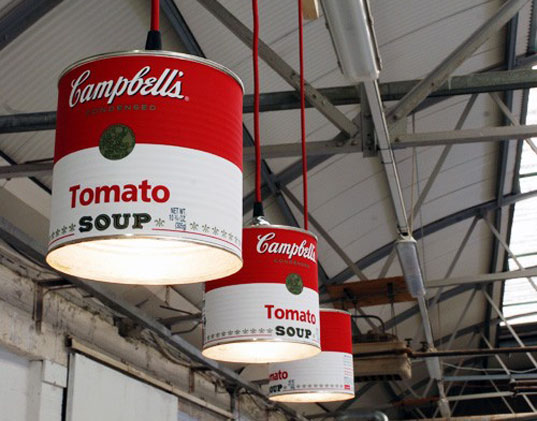 Can Light, Willem Heeffer, FUSE, recycled materials, recycled can lamps, recycled cans, DIY, Campbell's Soup Lamps, Heinz Beanz Lamps, Green Lamps
