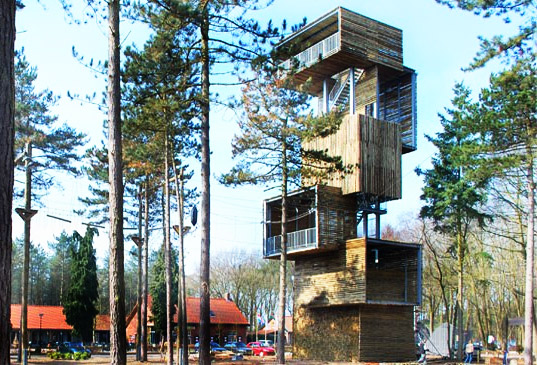 Boxy Wooden Treehouse Tower Now Open In Netherlands