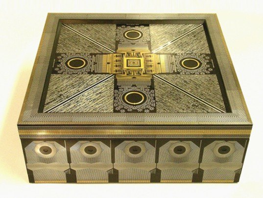 Recycled circuit boards, circuit board art, Theo Kamecke, recycled boxes, recycled materials, circuit board furniture