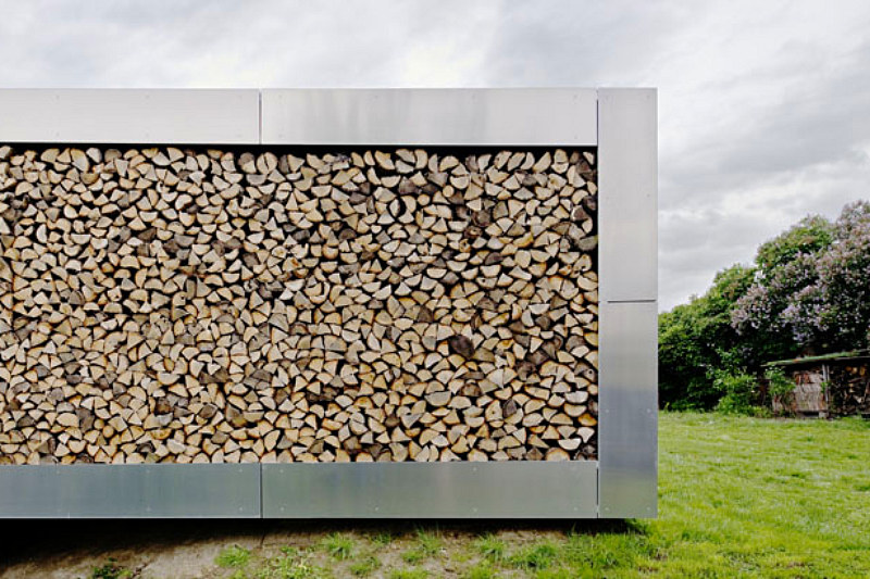 wall of logs
