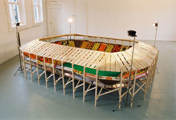 vegetables, produce, football stadium, fruit, sculpture, helmut smits, recycled materials