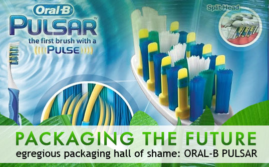 eco design, environmentally-friendly packaging, green design, packaging the future, packaging waste, sustainable design, green design, oral b pulsar, egregious packaging, excess packaging, wasteful packaging