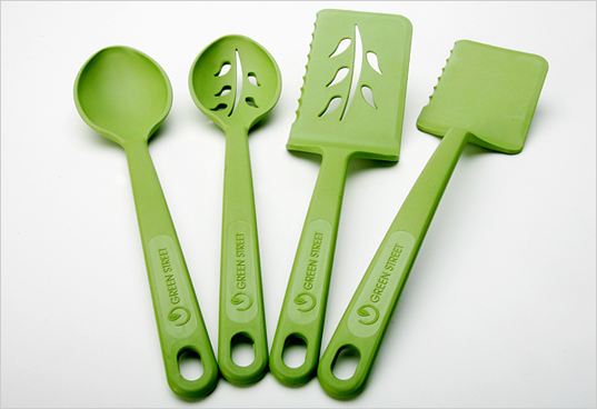 green street cooking tools, recycled plastic utensils, recycled plastic water bottle utensils, green cooking utensils, green tools, wind power, bio diesel