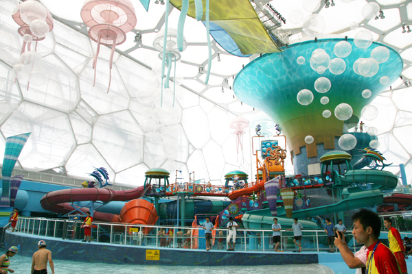 water cube, beijing, daylighting, water park, asia's largest water park, happy magic water park