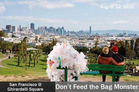 sustainable design, green design, plastic bag monsters, recycled materials, san francisco, plastic bag ban, policy, eco art