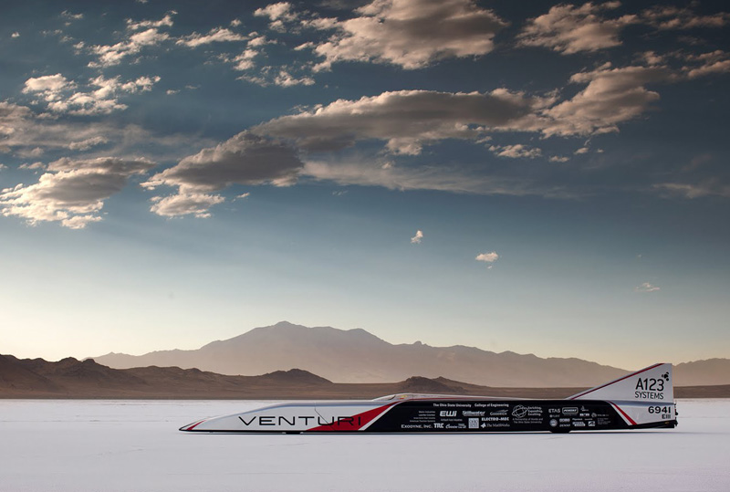 a123 systems, buckeye bullet, electric vehicles, EVs, ohio state university, sustainable design, venturi, speed record, utah salt flats