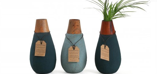 recycled materials, ceylon, paper pottery, vases, recycled paper, reclaimed materials, sand, paper pots, biodegradable, ec