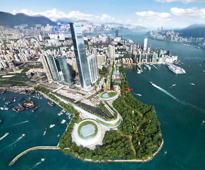 foster and partners, hong kong, west kowloon cultural district, urban park, sustainable development