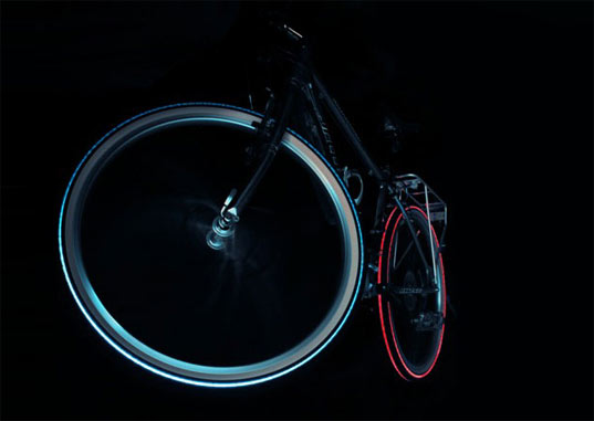 tron, cyglo, illuminated tire, glowing tyre, led, led tire, lightcycle, night bright tyre, green transportation, bikes, bicycles, night light, bike light, green design, green products