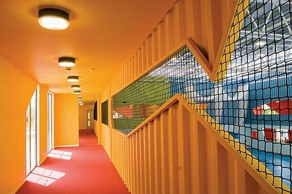 Corridor Roof Design: Fun PreFab Gym Built From Containers Assembled In Three Days