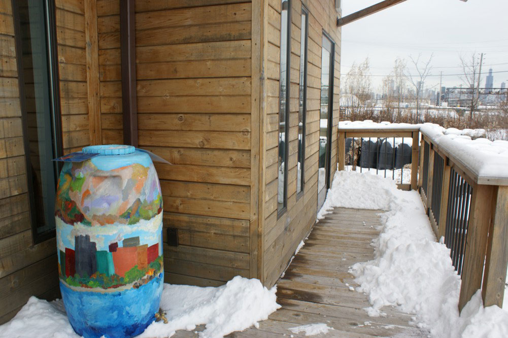 Rain barrel, chicago, water, collection, green roof, center for green technology, CCGT, Illinois, Cook County, Art, Painting, Solar Decathlon, eco , green, sustainable, design