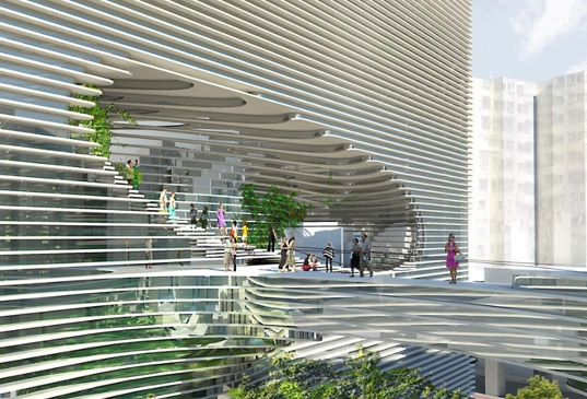 BIG architects, ted, cube building, cube, rooftop park, green roof, living roof, green architecture, ventilation, solar shading, mixed use building, roof garden, taiwan, green architecture, green building, eco architecture sustainable architecture
