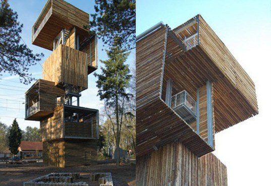 ateliereen architecten wooden observation tower