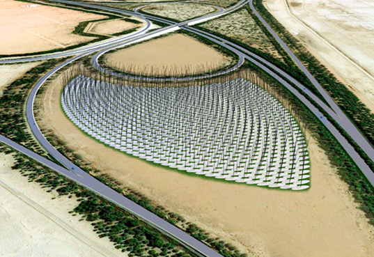 windstalk, wind turbines, land art, abu dhabi, masdar city, green design, renewable energy
