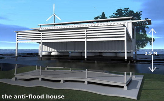 amphibious container, floating house, disaster relief housing, pakistan flood, green container international aid, shipping container housing, green design