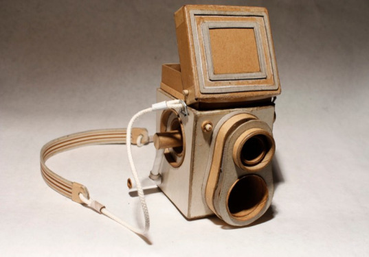 sustainable design, green design, recycled materials, cardboard, eco art, kiel johnson, cardboard camera