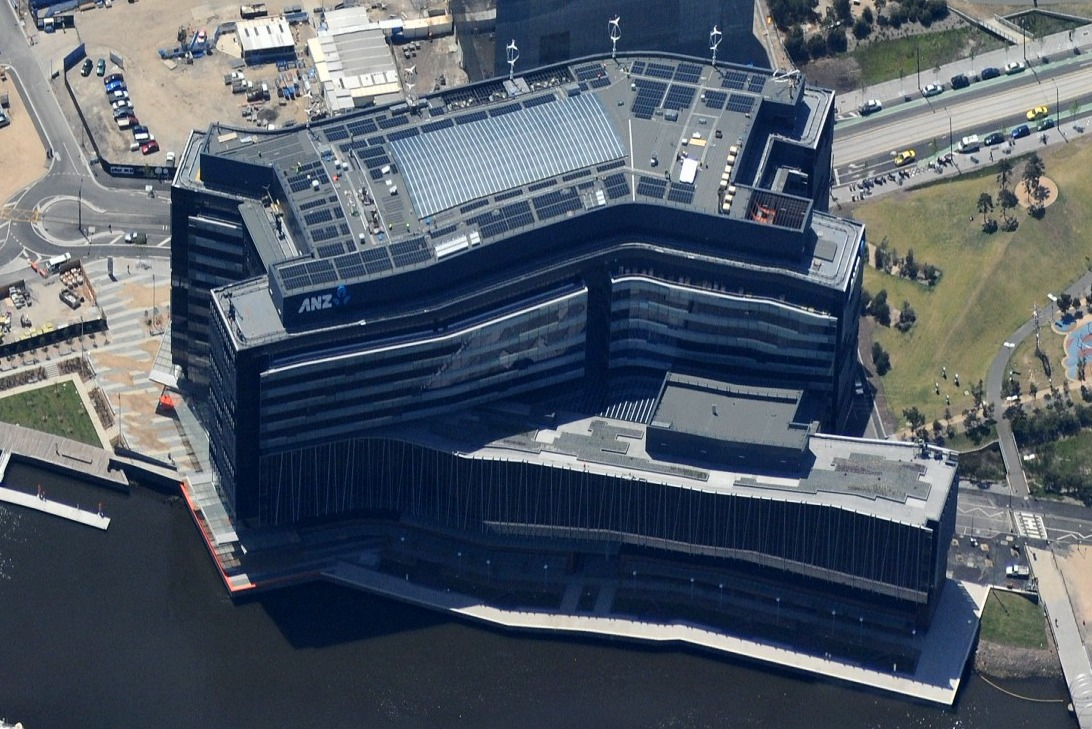 displacement cooling, integrated solar electricity, green chiller, VAWT, 6 green star, ANZ bank Headquarters, Australia green building, sustainable building design, waste heat absorption cooler, largest green building, green office tower,