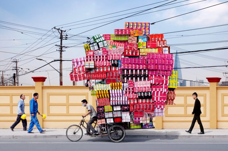 "totems, alain delorme, bike transport, art, eco art, photography, shanghai, ""made in china"""