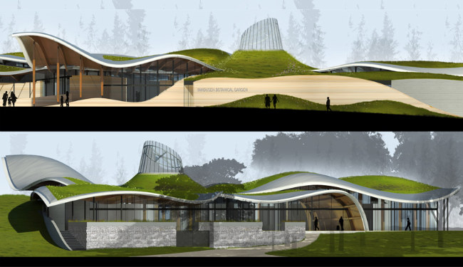 vandusen botanical garden, visitor centre, living building, leed platinum, green roof, busby perkins + will