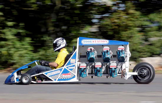 Power Tools For Cars : Go kart powered by circular saws slices through uk derby