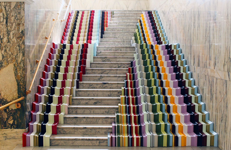 Rainbow Colored Stairway Made Of 600 Meters Of Picture Frames