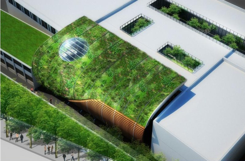 Green Wave Thermal Pool Wrapped With A Living Wall In