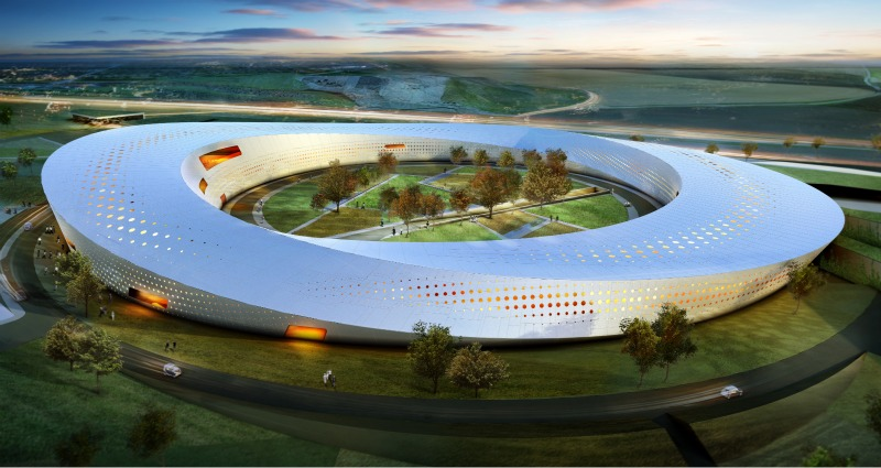 max-lab, Snøhetta, sweden, particle accelerator, solar gain reduction, mobius strip, green design, sustaianble architecture