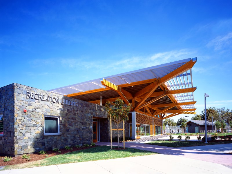 orange memorial park, marcy wond and donn logan architects, south san francisco, community center, sustainable building, green architecture