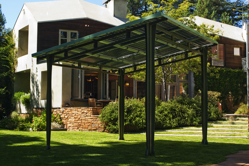 Environment - Prefab Solar Awning Provides Outdoor Shade And Solar Power