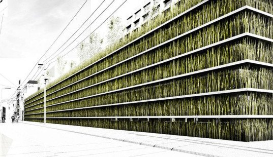 Grass Walled And Green Roofed Parking Garage For Toyko