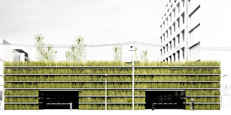 Grass walled and green roofed parking garage for toyko Building on a lot