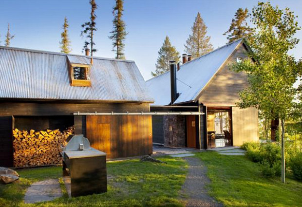 stone creek camp, andersson wise architects, montana, green roof, stacked cordwood wall, green building, sustainable architecture