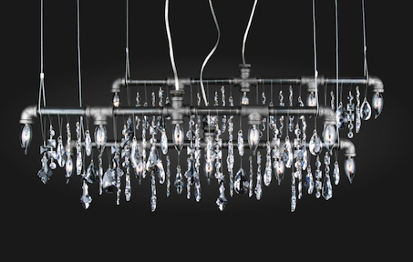 Tribeca Upcycled Pipe Chandelier Dripping With Crystals Inhabitat - Upcycled chandelier crystals