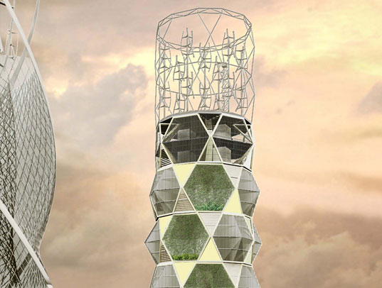 Beehive Tower Is A Honeycomb Inspired Vertical Farm For
