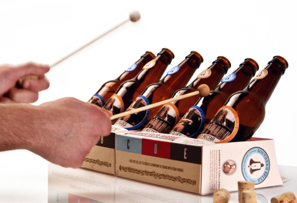 Southern Bells Xylophone, sustainable design, green packaging, recycled materials, beer bottle xylophone, green design, green products