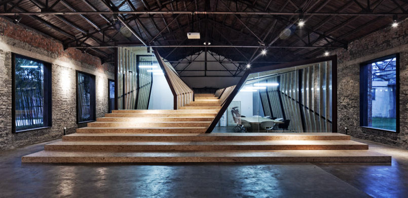 Green studio, Archi Union Architects, reclaimed warehouse, parametric wall, arts studio conversion, China art space, warehouse studio,