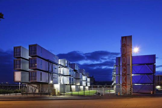 dormitory, dorm, student housing, cattani architects, shipping containers, upcycled design, recycled design, green design, green architecture, eco architecture, le havre, france