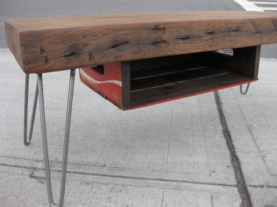 Reclaimed Wood Desks Feature Vintage Soda Crates As