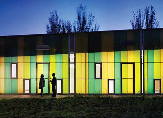 daylight walls, environmentally appropriate design, green kitagarden, green nusery, green roof spain, Santiago Carroquino Arquitectos, solar thermal heat, spanish sustainble design, Zaragoza school