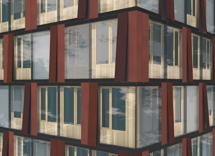 green building Austria, energy positive tower, greenbuilding, no carbon building, passivhaus tower, solar facade, sustainable tower, wood skyscraper, CREE