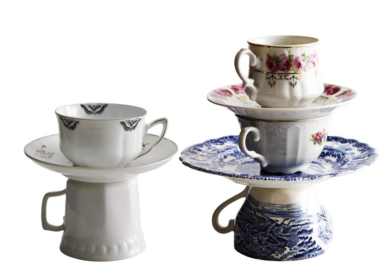 tableware, recycled, porcelain, upcycled, Oddbirds, sustainable design, green design, recycled material, teacup lamps